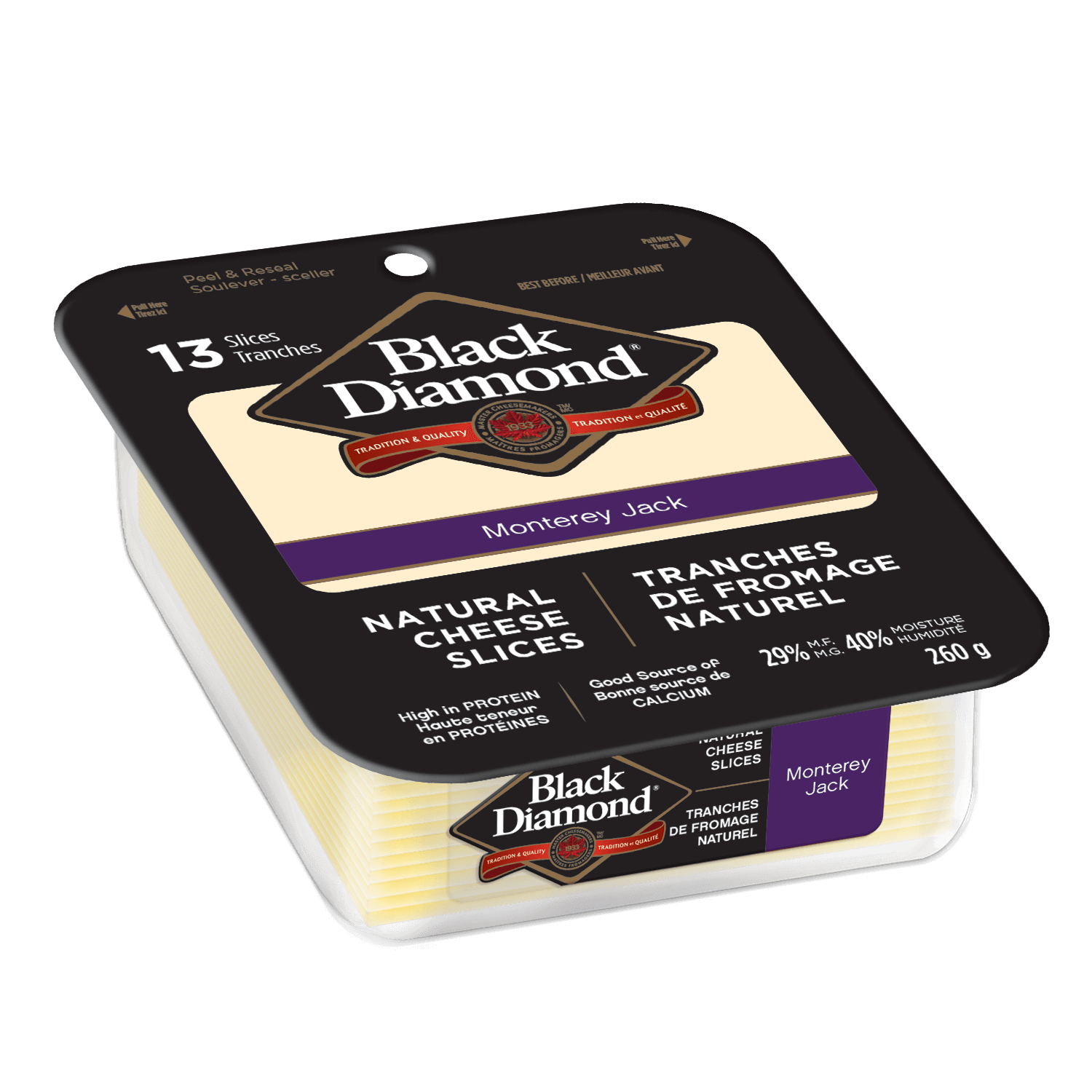Monterey Jack Natural Cheese Slices 260g