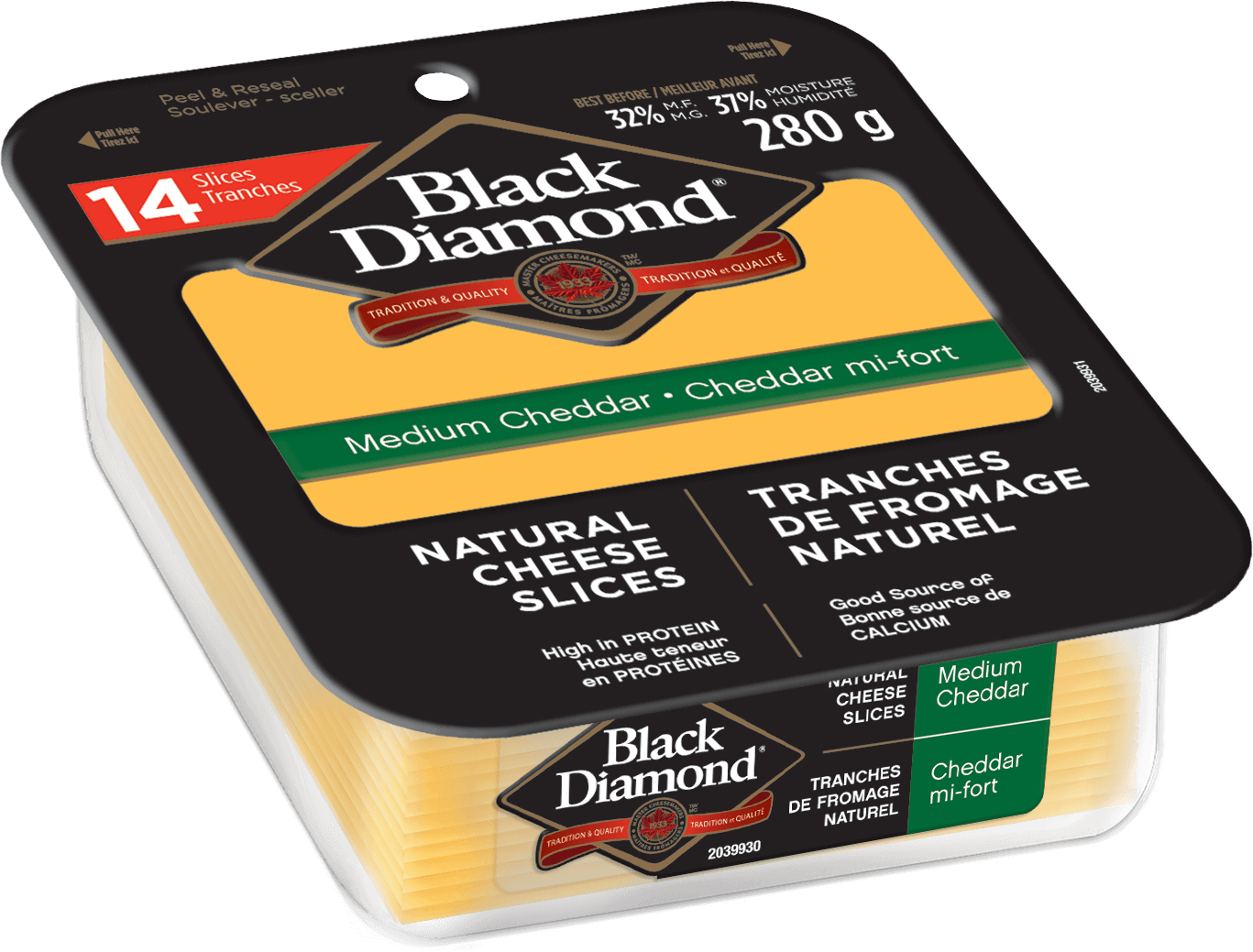 Medium Cheddar Natural Cheese Slices 280g
