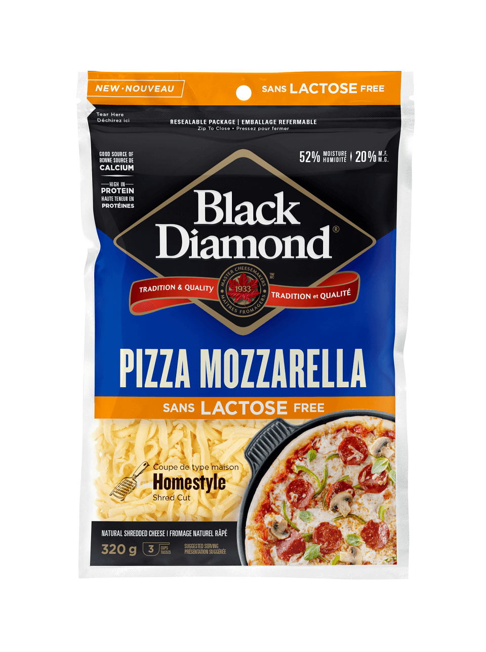Lactose Free Pizza Mozarella Shredded Cheese 320g